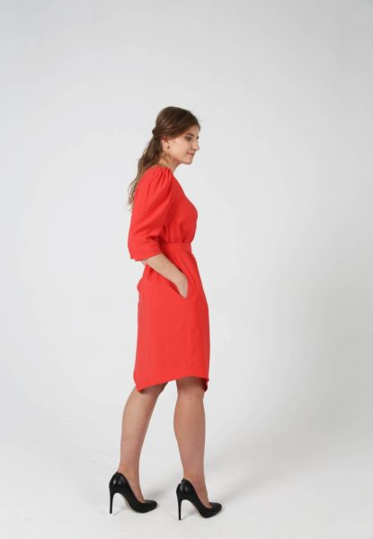 Ayani Labelbird BELTED ANGLE DRESS IN CORAL