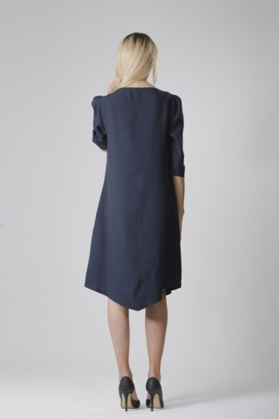 TERESA | BELTED ANGLE DRESS IN NAVY BLUE Labelbird Ayani