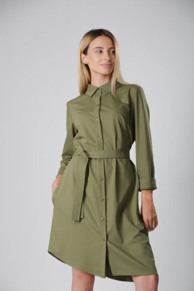 ZABEL | BELTED SHIRT DRESS IN OLIVE GREEN Ayani Labelbird