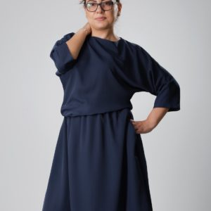 ANAHIT | DRAPEY DRESS IN NAVY BLUE Labelbird Ayani